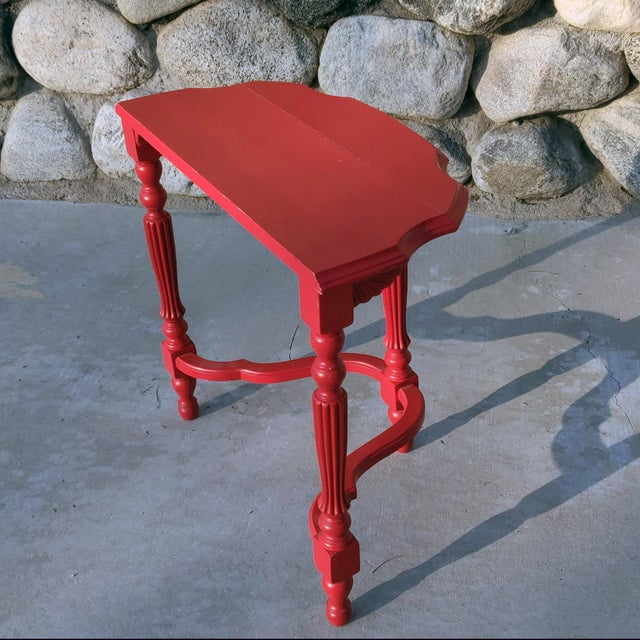 19th Century French County Fire-Engine Red Painted Demi-Lune Table For Sale - Image 4 of 6