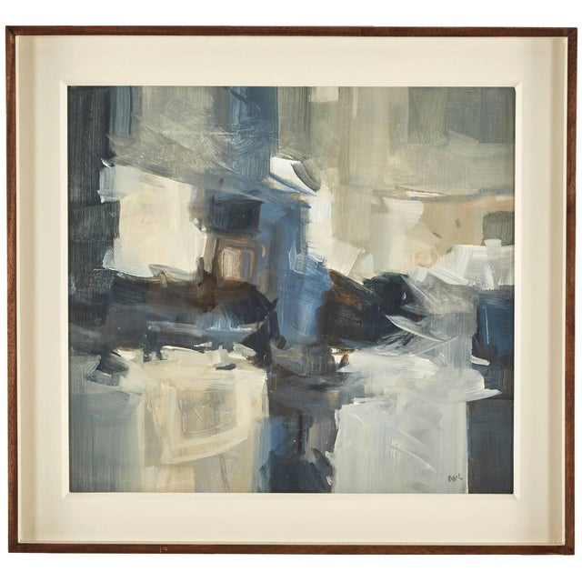 An abstract painting in a custom frame by artist Malcolm Chandler.