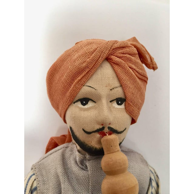Handcrafted Anglo-Raj Vintage Stuffed Sitting Snake Charmer Doll, India For Sale - Image 4 of 7