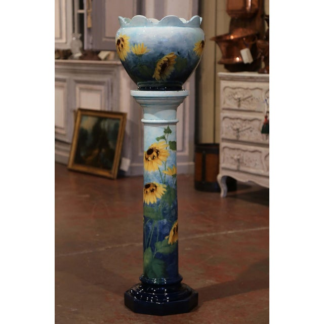 Delphin Massier 19th Century French Hand Painted Ceramic Planter and Stand Signed D. Massier For Sale - Image 4 of 13
