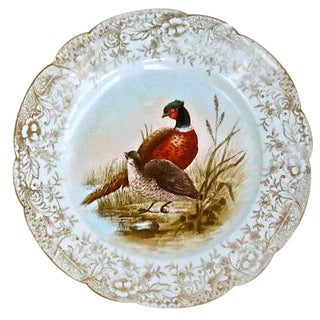 Antique Limoges Porcelain Pheasant Plate For Sale
