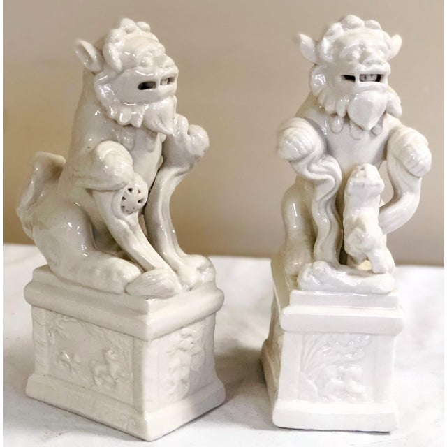 Chinoiserie Italian Blanc De Chine Style Foo Dogs For Sale - Image 3 of 4