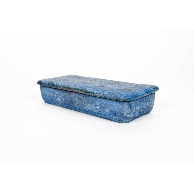 Charming matte blue glazed ceramic keepsake box with textured surface by Bitossi. Marked Italy on bottom.