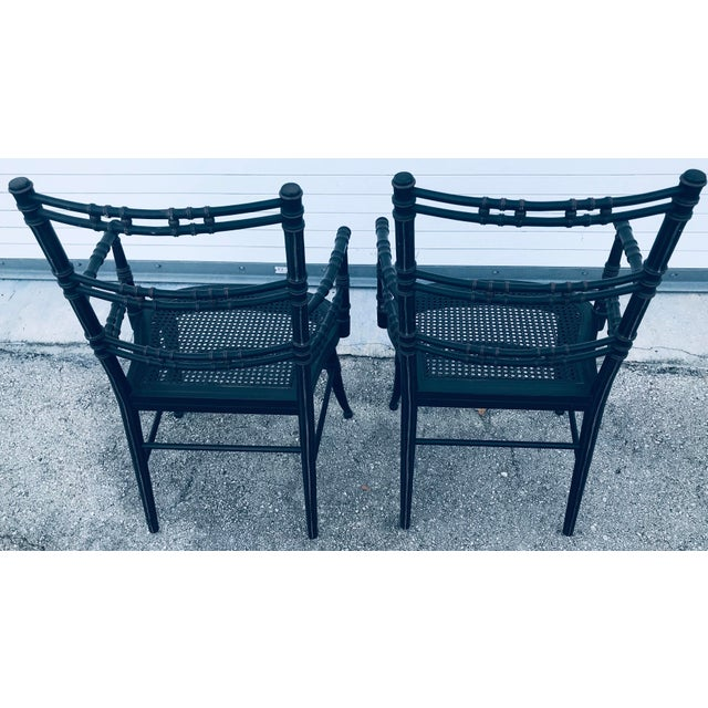 Campaign Vintage Baker Furniture Faux Bamboo Chairs - a Pair For Sale - Image 3 of 11