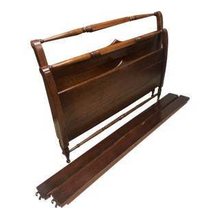 1930s Mission Cherry Stickley Full Size Sleigh Bedframe For Sale