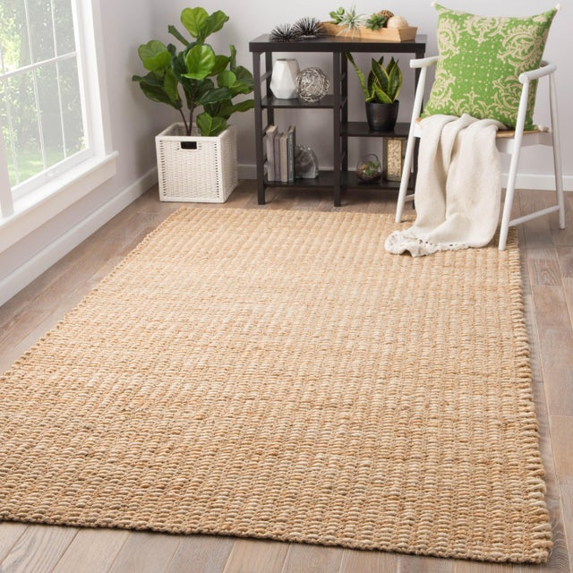 2010s Jaipur Living Blair Natural Solid Beige Area Rug - 5' X 8' For Sale - Image 5 of 6
