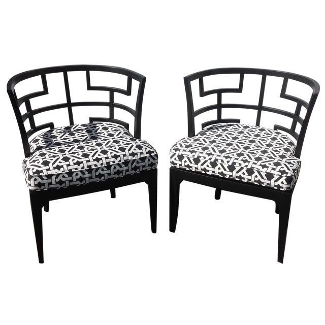 Pop of Black Barrel-Back Chairs - A Pair - Image 1 of 7