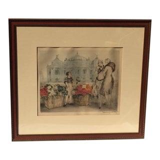 """1930s Vintage Louis Icart """"River Florist"""" Aquatint Etching Print For Sale"""