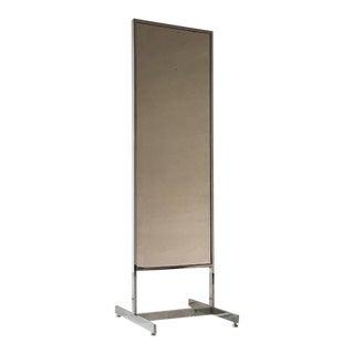 Chrome Framed Floor Standing Mirror 1970s For Sale