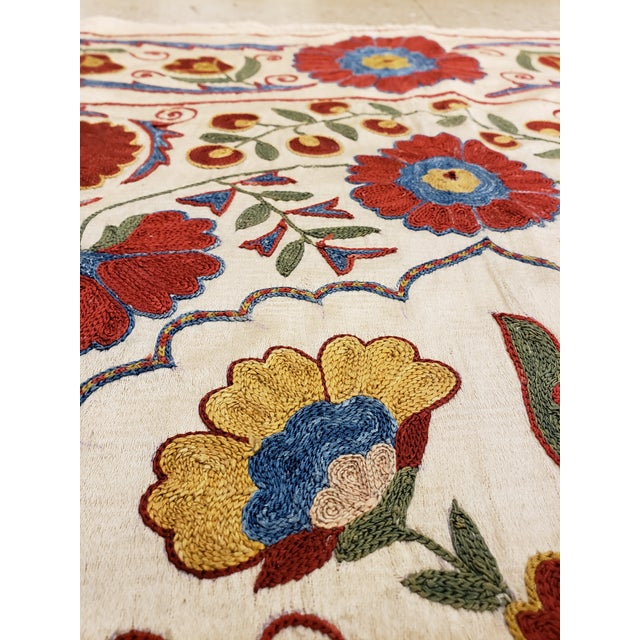 Textile 20th Century Asian Suzani Textile Rug - 3′3″ × 3′4″ For Sale - Image 7 of 9