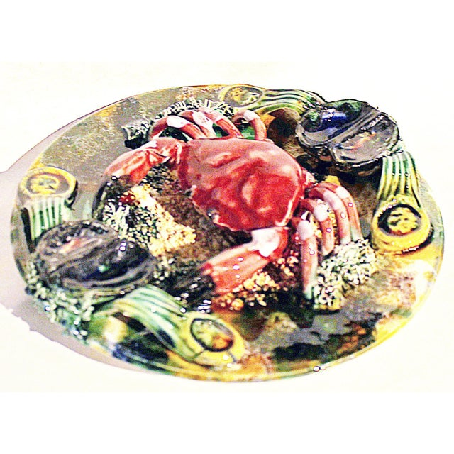 Highly detailed majolica crab plate from Portugal in Palissy style. Mussels seaweed and sand galore.