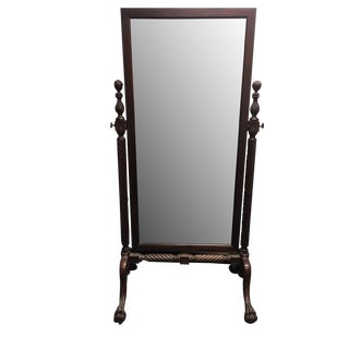 Antique Carved Mahogany Cheval Mirror