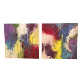 """Kelly O'Neal """"Primary Colors"""" Diptych Painting For Sale"""