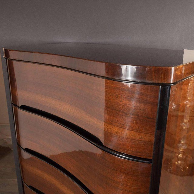Art Deco Machine Age Bookmatched Mahogany & Black Lacquer Streamlined High Chest For Sale - Image 11 of 13