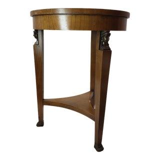 Vintage Art Deco Italian Wood & Brass Claw Feet Bust Side Table For Sale