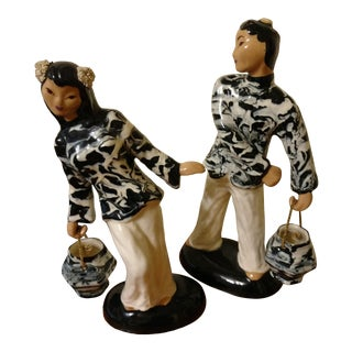 """Hedwig """"Hedi"""" Schoop Tall Asian Couple With Buckets. 1950s Vintage Ceramic Figurines. Man Missed Hat, Priced Right! Colors! For Sale"""