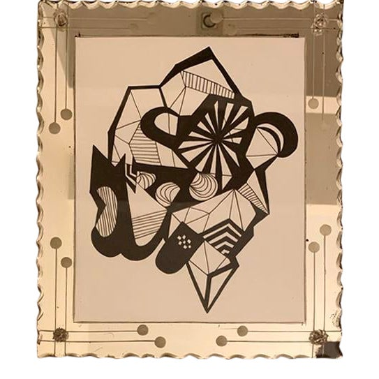 Abstract Original Ink Drawing in Vintage Mirrored Art Deco Style Frame For Sale