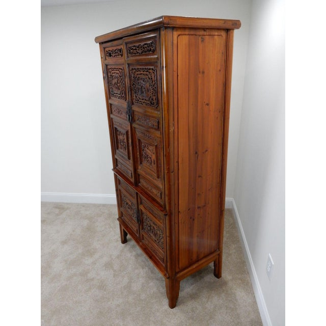 Chinese Carved Teak Wood Cabinet For Sale - Image 6 of 12
