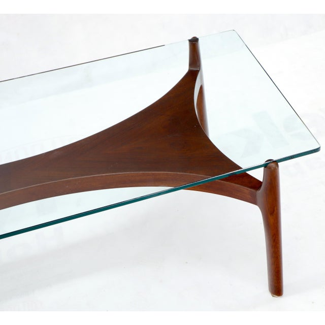 Sculptural Low Profile Teak Base Glass Top Danish ...