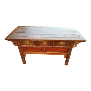 19th Century Chinese Elmwood Three Drawer Coffer Altar Table For Sale