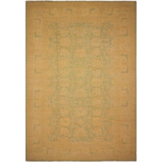 Kafkaz Sun-Faded Marlo Lt. Green/Lt. Tan Hand-Knotted Rug - 12'2 X 18'0