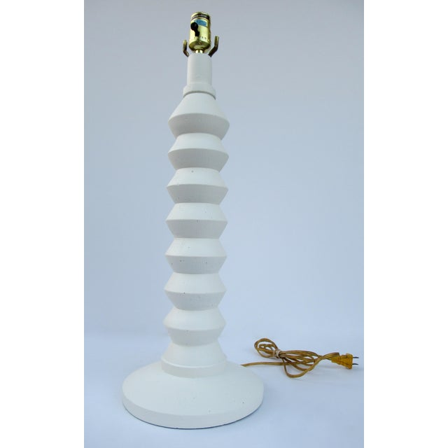 Mid-Century Plaster Zig-Zag Tiered Lamp For Sale - Image 9 of 13
