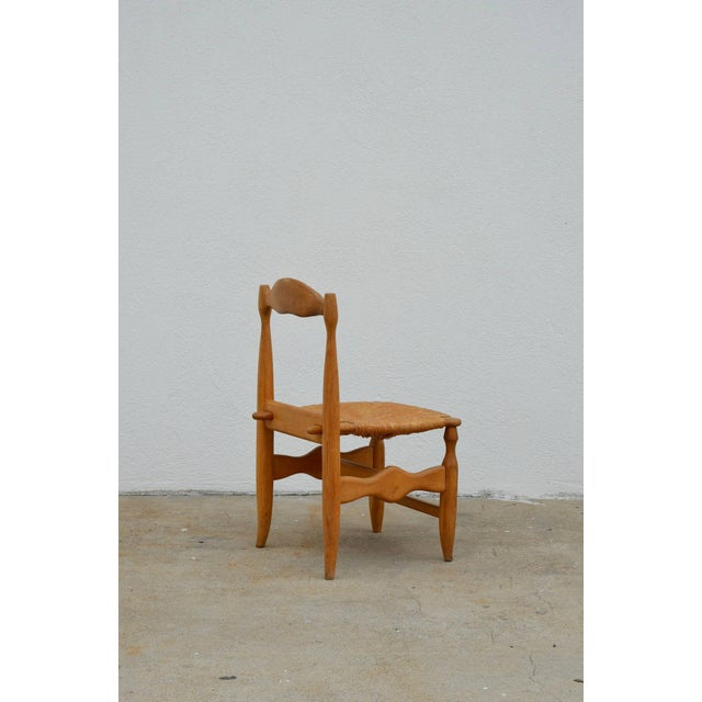 Contemporary Rare Set of 12 Guillerme Et Chambron Blond Oak and Rush Chairs For Sale - Image 3 of 7