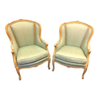 Green Bergere Chairs - a Pair