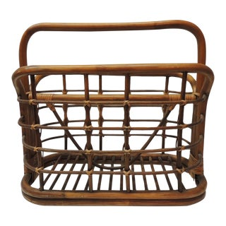 Large Vintage Bent Bamboo Magazine Rack With Handle For Sale