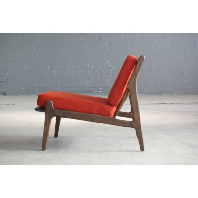 Red Ib Kofod-Larsen Lounge or Slipper Chair Danish Midcentury For Sale - Image 8 of 11