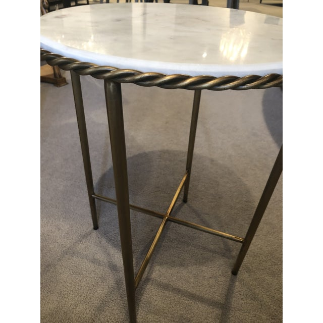 Art Deco Antique Marble Top & Brass End Table For Sale - Image 3 of 8