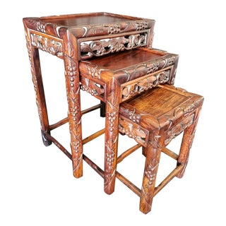 Vintage Chinese Hand Carved Nesting Tables - Set of 3 For Sale