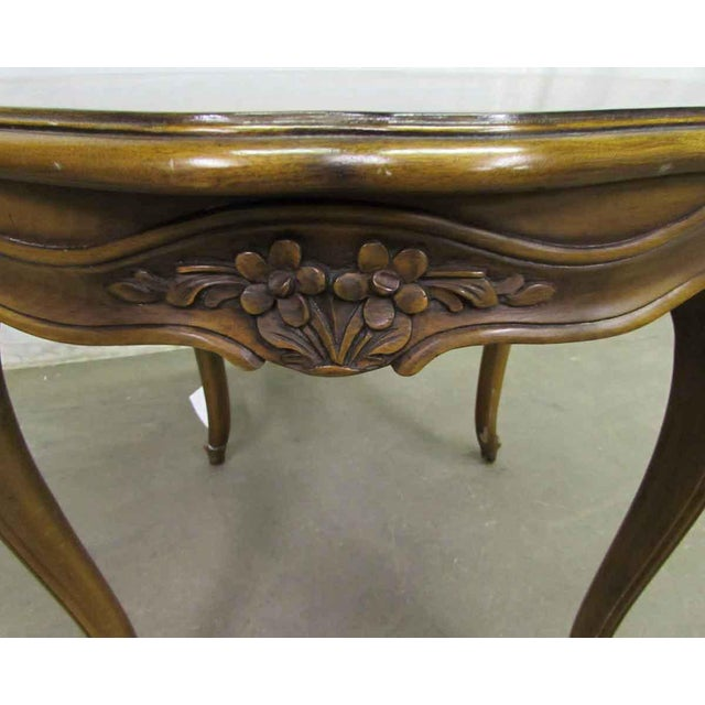 Floral Carved Wood Coffee Table - Image 2 of 7