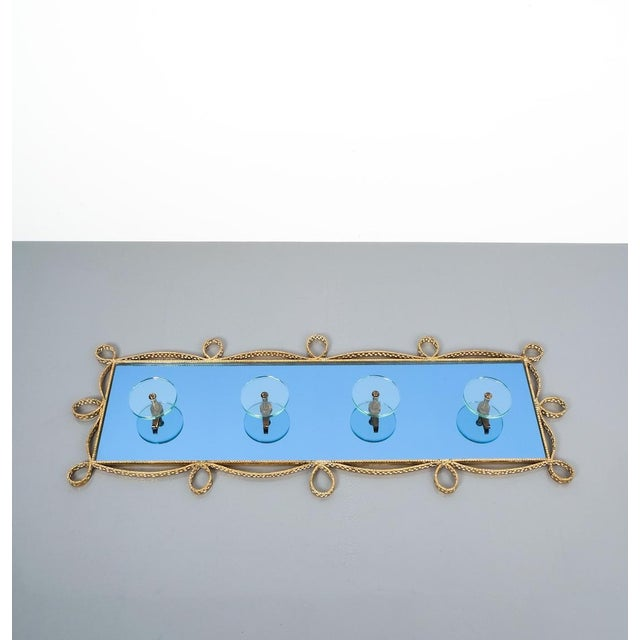 1950s Pierluigi Colli Coatrack Wall Wardrobe Iron Blue Glass Mirror, Italy 1950 For Sale - Image 5 of 10