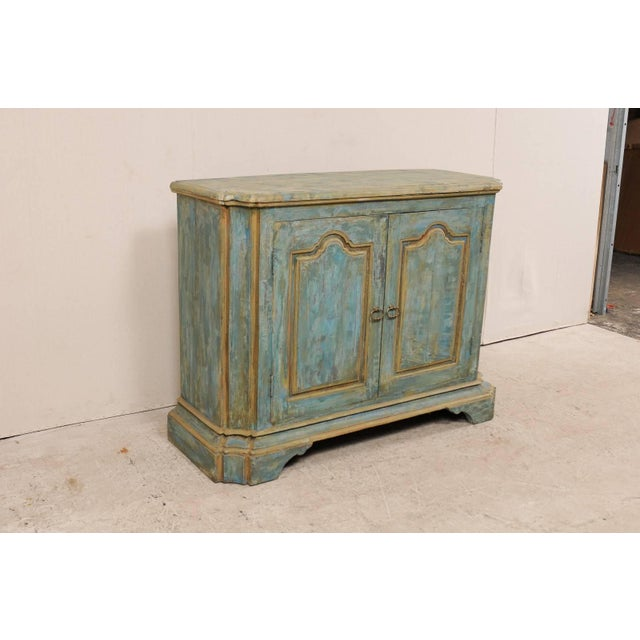 Italian Custom Vintage Italian Style Two-Door Painted Wood American Buffet Console For Sale - Image 3 of 10