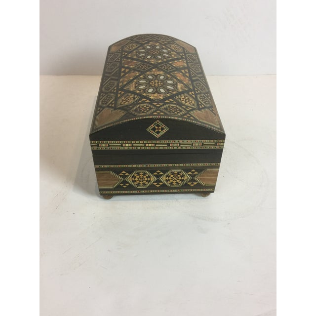 Handcrafted Inlaid Wood Moorish Jewelry Box For Sale - Image 9 of 13