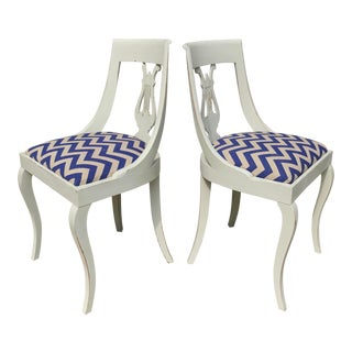 Pair of Neoclassical Side Chairs in Chevron Linen For Sale