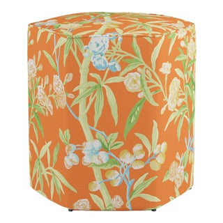 Hexagonal Ottoman in Mandarin Lanai By Scalamandre For Sale