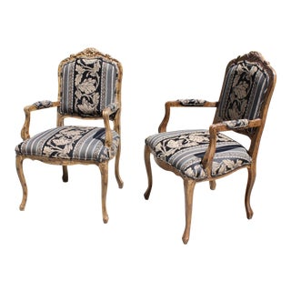 Vintage Rococo Louis XV French Tortoise Wood Bergere Chairs - a Pair For Sale