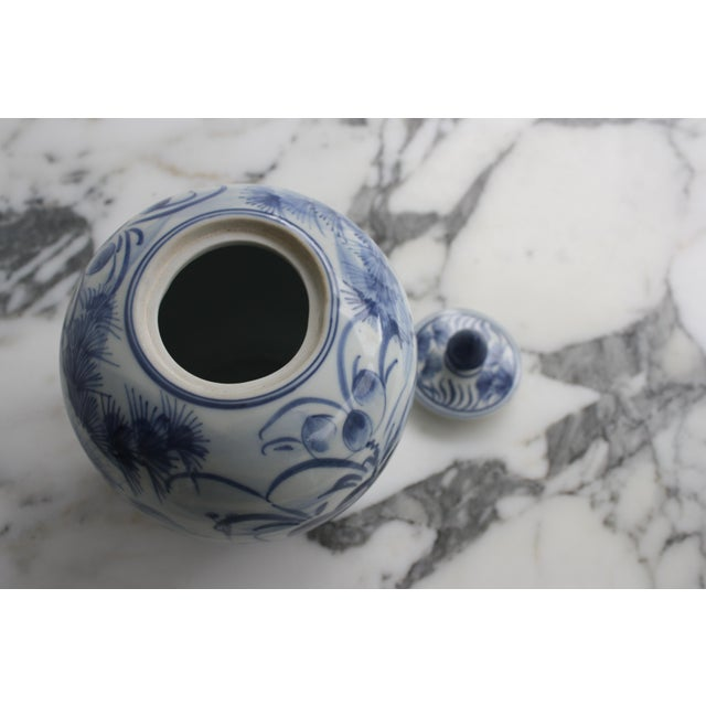 Ceramic Vintage Blue and White Decorative Ginger Jar with Lid For Sale - Image 7 of 7