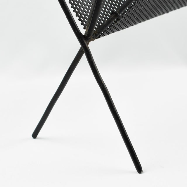 Black Mathieu Mategot Iconic Butterfly Magazine Holder Rack Black Perforated Metal For Sale - Image 8 of 11