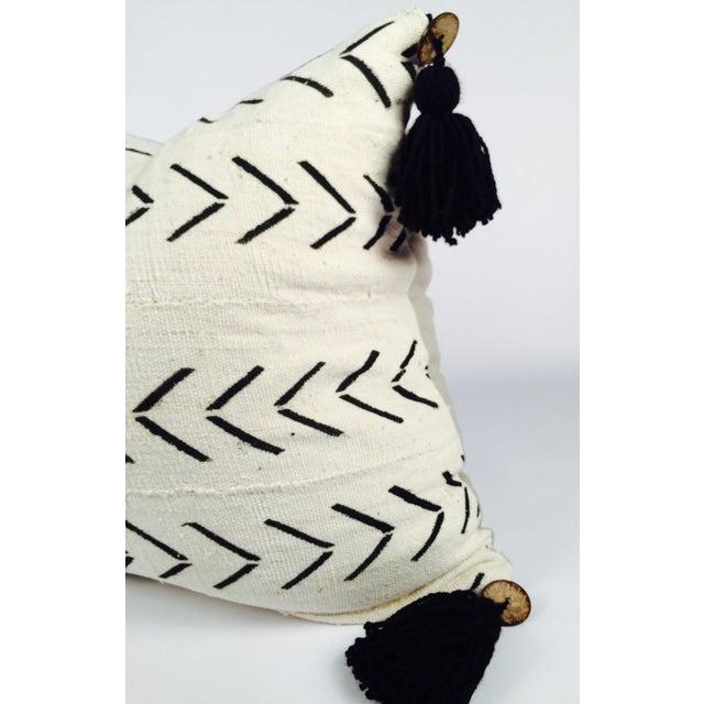 "22"" Pompom Black & White Mud Cloth Pillow - Image 3 of 5"