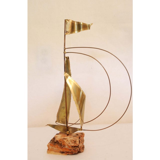 Vintage Stone Base Brass And Copper Sailboat - Image 2 of 5