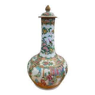 Antique Rose Medallion Bottle Lidded Vase For Sale