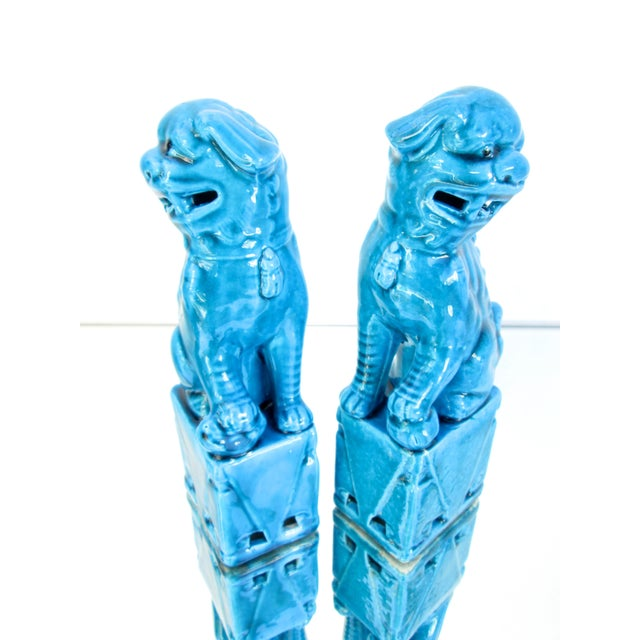 Turquoise Foo Dogs - A Pair - Image 6 of 10