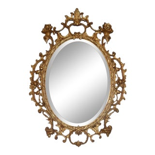 LaBarge Oval Carved Giltwood Mirror For Sale