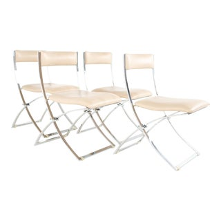 Marcello Cuneo Luisa Mid Century Chrome Folding Dining Chairs - Set of 4 For Sale