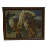 "Image of ""Horses"" Framed Vintage Print For Sale"