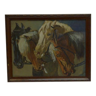 """Horses"" Framed Vintage Print For Sale"