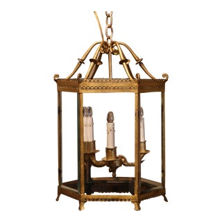 Early 20th Century French Gilt Metal and Beveled Glass Three-Light Lantern For Sale